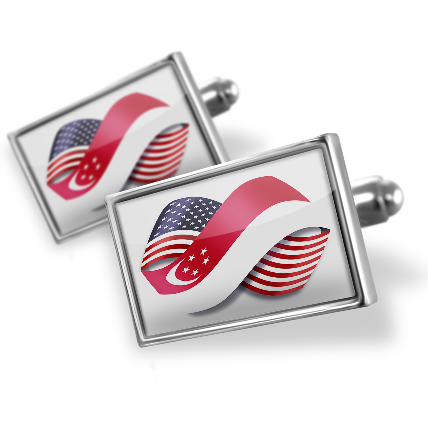 Cufflinks Infinity Flags USA and Singapore - NEONBLOND