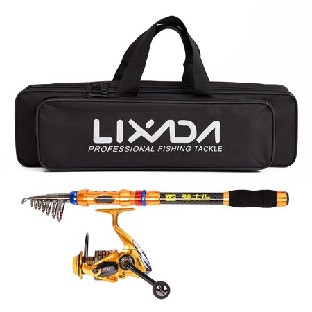 Lixada Spinning Fishing Reel and Rod Combo Portable Telescopic Fishing Pole Reel Set with Fishing Tackle Bag Carrier Case for Sea Fishing