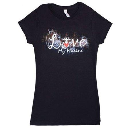 Fox Outdoor 64-0940 XXL Womens Love My Marine Imprint Cotton Tee - Black, 2 Extra Large ()