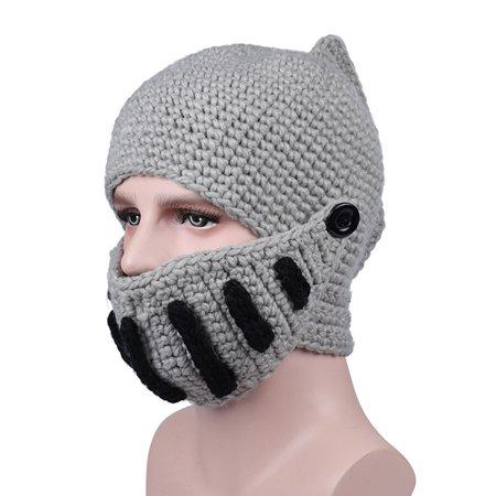 Knight Helmet  Knit Beanie Hat Cap Wind Mask