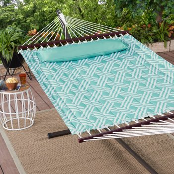 Mainstays Finne Isle Quilted Outdoor Double Hammock in Mint