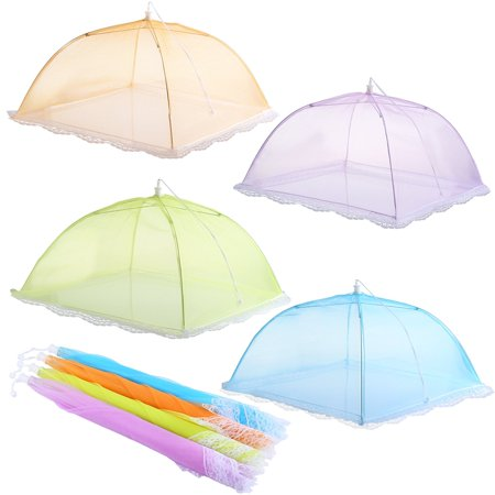 IPOW Set of 4 Large Pop-up Mesh 17 inch Screen Food Cover Tents Umbrella, Reusable Collapsible Outdoor Picnic BBQ Party Food Net, Keep Out Flies, Bugs, Mosquitoes
