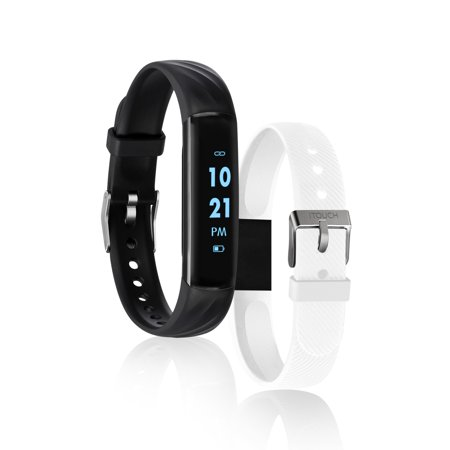 iTouch Slim Interchangeable Fitness Activity Tracker With Bonus Strap Black/White