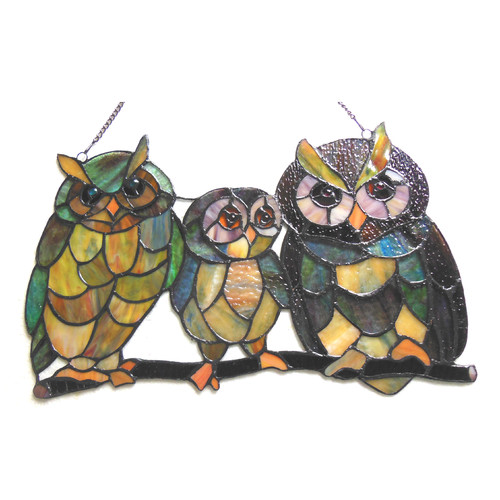 CHLOE Lighting OLLIE Tiffany-glass Owls Family Window Panel 11x17