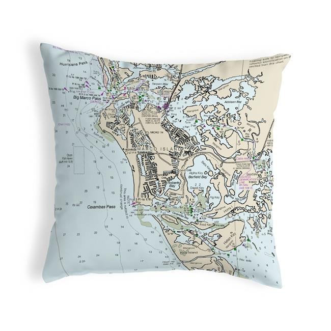 Betsy Drake NC11429MI Marco Island, FL Nautical Map Noncorded Indoor & Outdoor Pillow - 18 x 18 in. - image 1 of 1