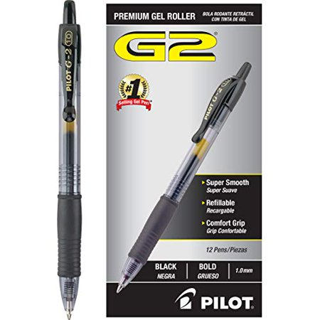 Pilot G2 Retractable Premium Gel Ink Roller Ball Pens Bold Pt (1.) Dozen Box Black; Retractable, Refillable & Premium Comfort Grip; Smooth Lines to the End of the Page, America?s