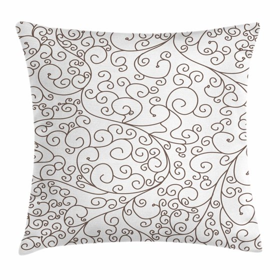 Doodle Throw Pillow Cushion Cover, Hand Drawing Style Lines with Swirling Tips Abstract and ...