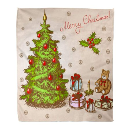 Abstract Boxes - ASHLEIGH Flannel Throw Blanket Beige Drawn Vintage Christmas Green Tree Snowman Abstract Bow Box 58x80 Inch Lightweight Cozy Plush Fluffy Warm Fuzzy Soft