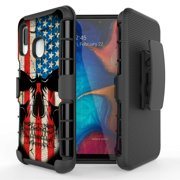 For Samsung Galaxy A10E Case Heavy Duty Shock Absorption Armor Case Cover Shockproof Rugged Kickstand Swivel Belt Clip Holster Hybrid Heavy Duty Full Body Protective Cover (Wrinkle Skull)