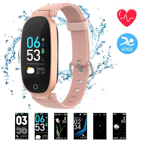 AGPTEK Fitness Tracker, Activity Tracker Women IP68 Waterproof Smart Watch Wristband Bracelet with Heart Rate Monitor (Fitness Tracker Wrist Bands)