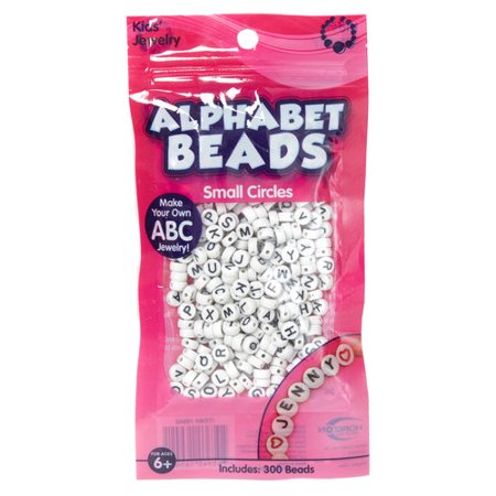 Kids Craft Alphabet Flat White Beads, 1 (Wooden Letter Beads)