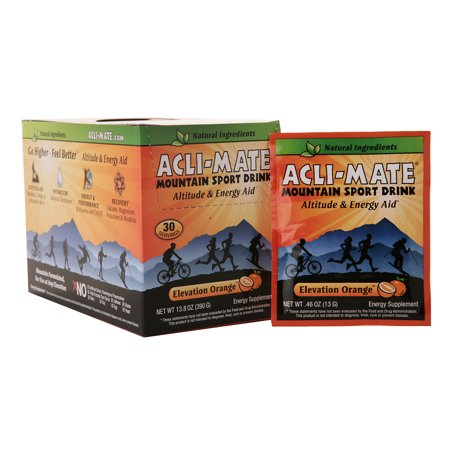 Energy Aid (Acli-Mate Mountain Sport Drink Altitude & Energy Aid Packets Elevation Orange0.46 oz. x 30 pack(pack of)
