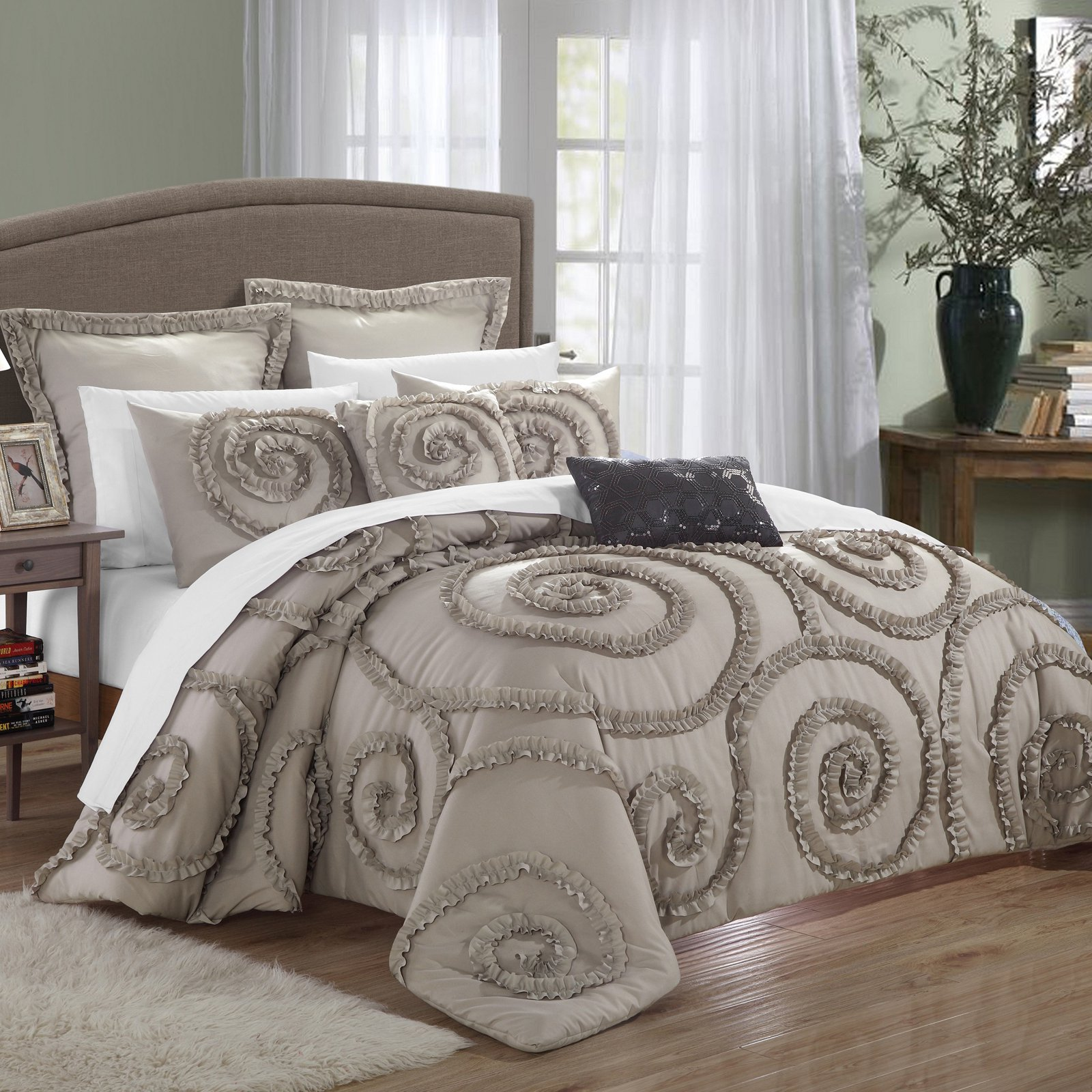 Chic Home Rosamond 11-Piece Ruffled Etched Embroidered Comforter Set