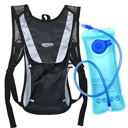 MOSOS Cycling Hydration Pack Water Backpack Hiking Climbing Pouch with 2L Hydration Bladder-Black