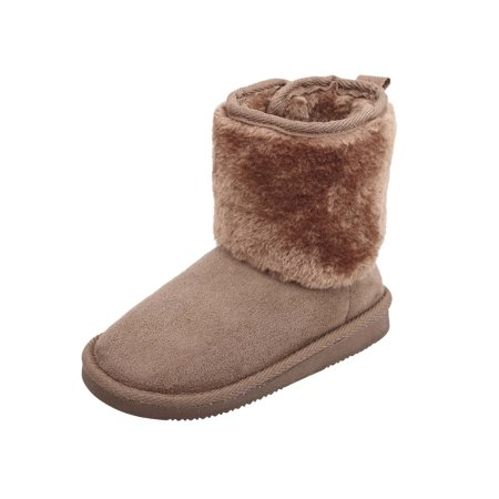 Kids Girls Snow Boots Sherpa Lined Faux Suede Velcro Winter Boots Camel 11