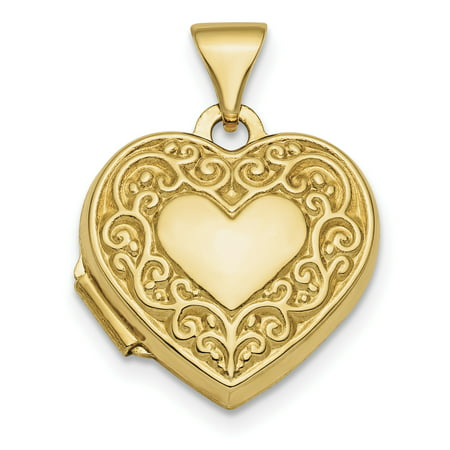14k Gold Food Charm - 14k Yellow Gold Scroll Design Front Back 15mm Heart Photo Pendant Charm Locket Chain Necklace That Holds Pictures Fancy