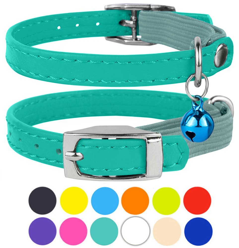 Leather Breakaway Elastic Strap Cat Collar With Bell, Mint Green