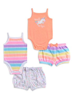 Garanimals Baby Girl Cami Bodysuits & Shorts Outfits, 4pc Set
