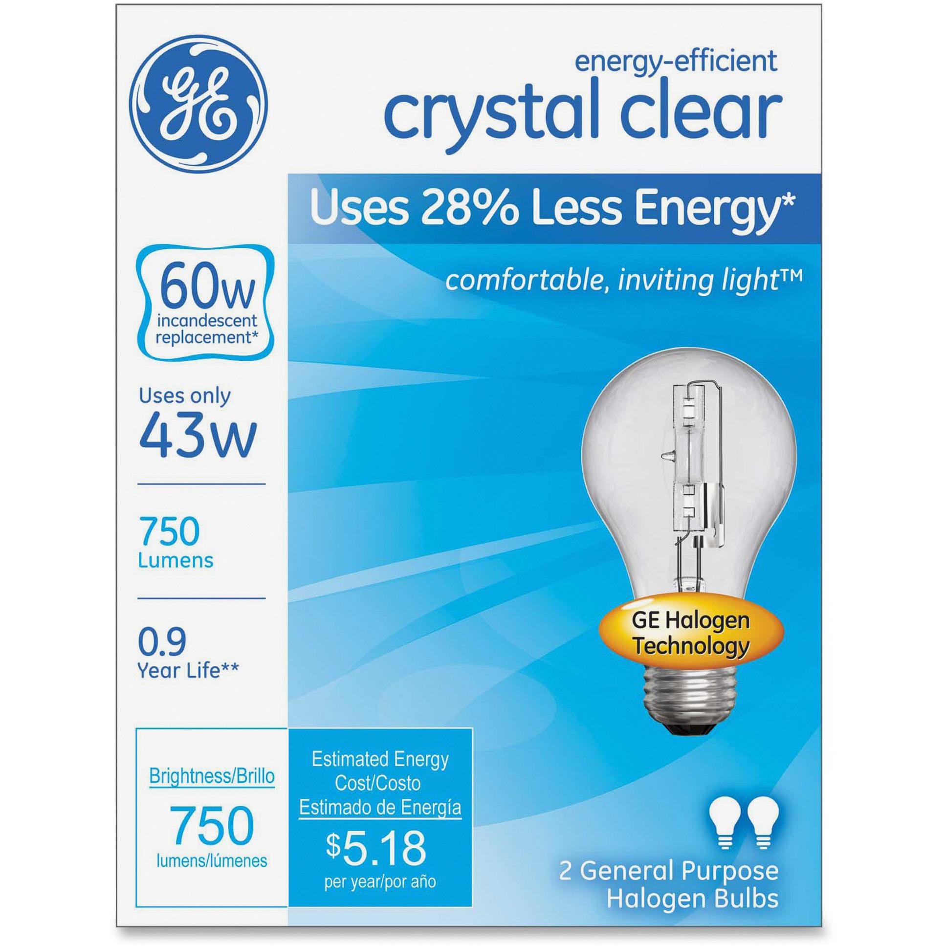 GE, GEL78796, Lighting Energy-efficient Clear 43W Bulb, 2 / Box