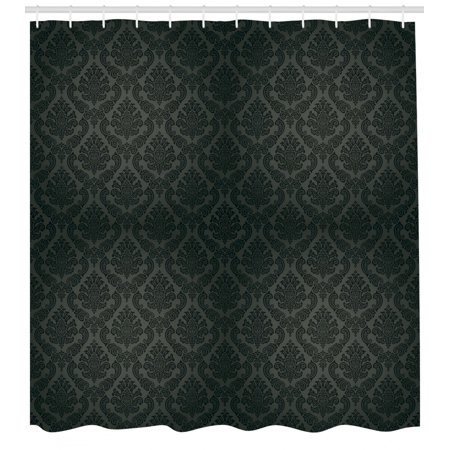 Dark Grey Shower Curtain, Ancient Damask Motifs Victorian Vintage Revival Design Elements Medieval Baroque, Fabric Bathroom Set with Hooks, 69W X 75L Inches Long, Black Grey, by Ambesonne