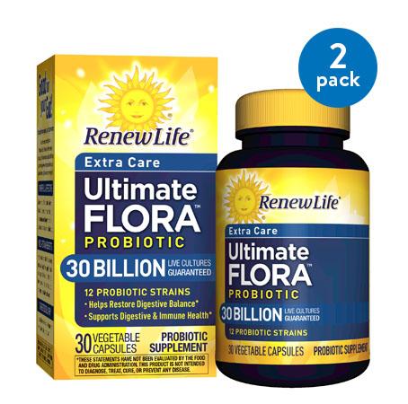 (2 Pack) Renew Life - Ultimate Flora Probiotic Extra Care - 30 billion - 30 vegetable capsules
