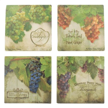 Silver Wine Coaster (Tumbled Tile Coasters Set of 4-Silver Fever- Coffee Cup Drinks Wine - Cork Back Non-Slip Coaster (Wine Grapes))