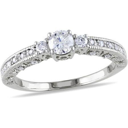 1 2 Carat T W Diamond Enement Ring In 10kt White Gold