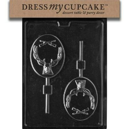 Dress My Cupcake DMCS081 Chocolate Candy Mold, Deer Hunter Lollipop - Halloween Candy Bar Cupcakes