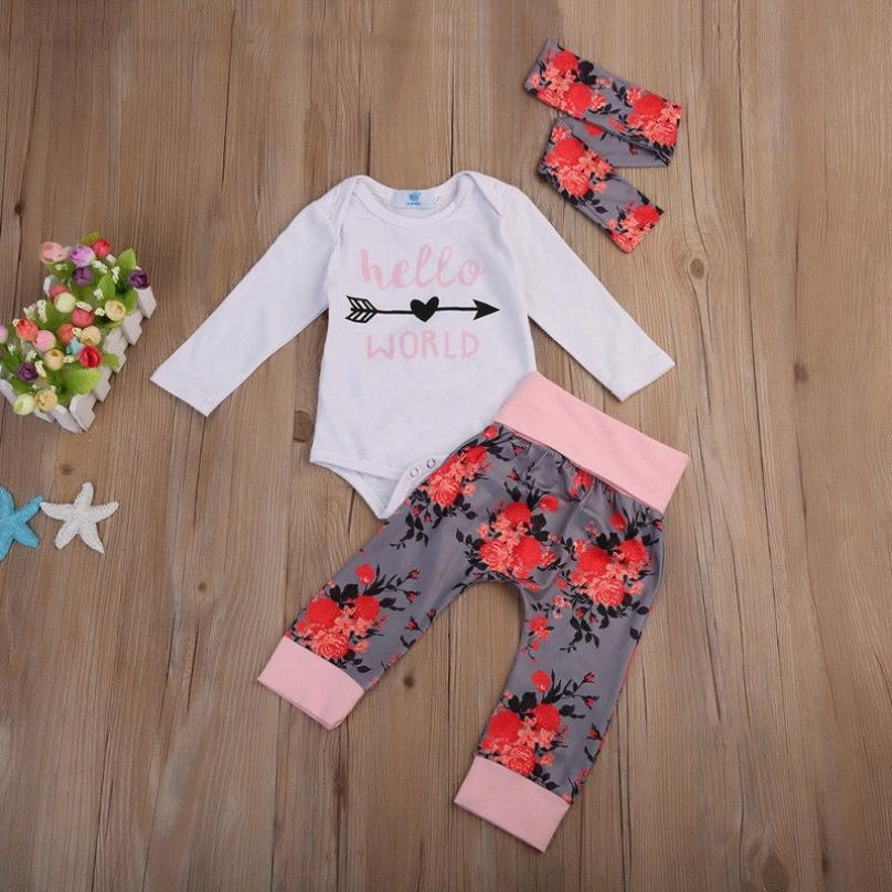 Newborn Infant Baby Girls Floral Flower Romper Bodysuit Jumpsuit Clothes Outfits
