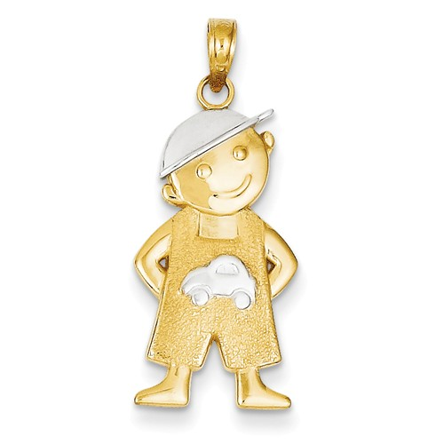 14K Yellow Gold and Rhodium Boy w/ hand in Pockets Pendant