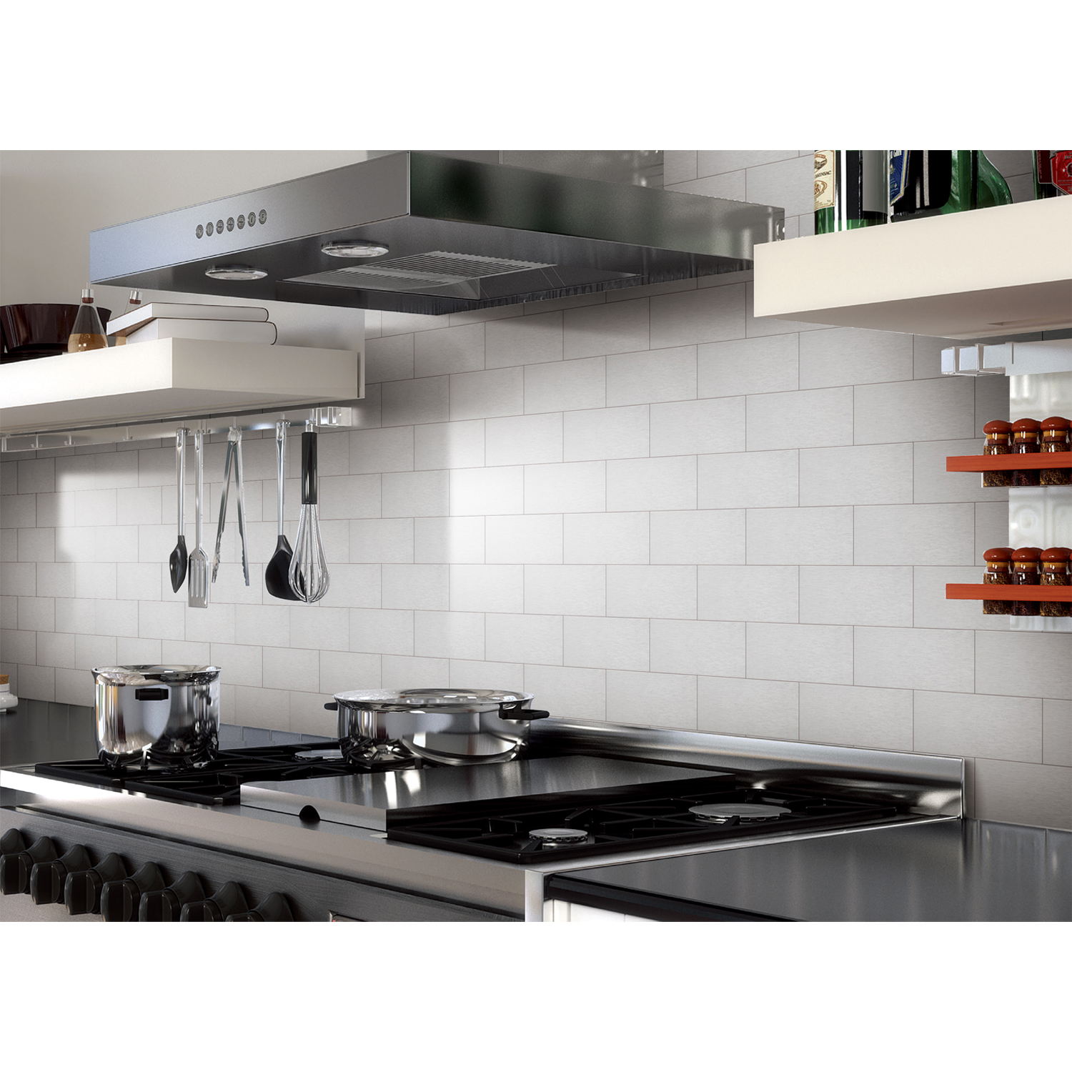 "Art3d 100-Pieces Peel and Stick Tile Kitchen Backsplash Metal Wall Tiles , 3"" x 6"" Brushed Aluminium Subway"