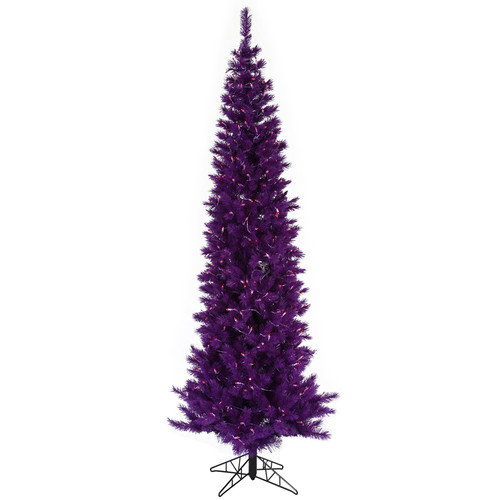 Vickerman Co. 9' Purple Artificial Christmas Tree with 500 Purple Mini Lights with Stand