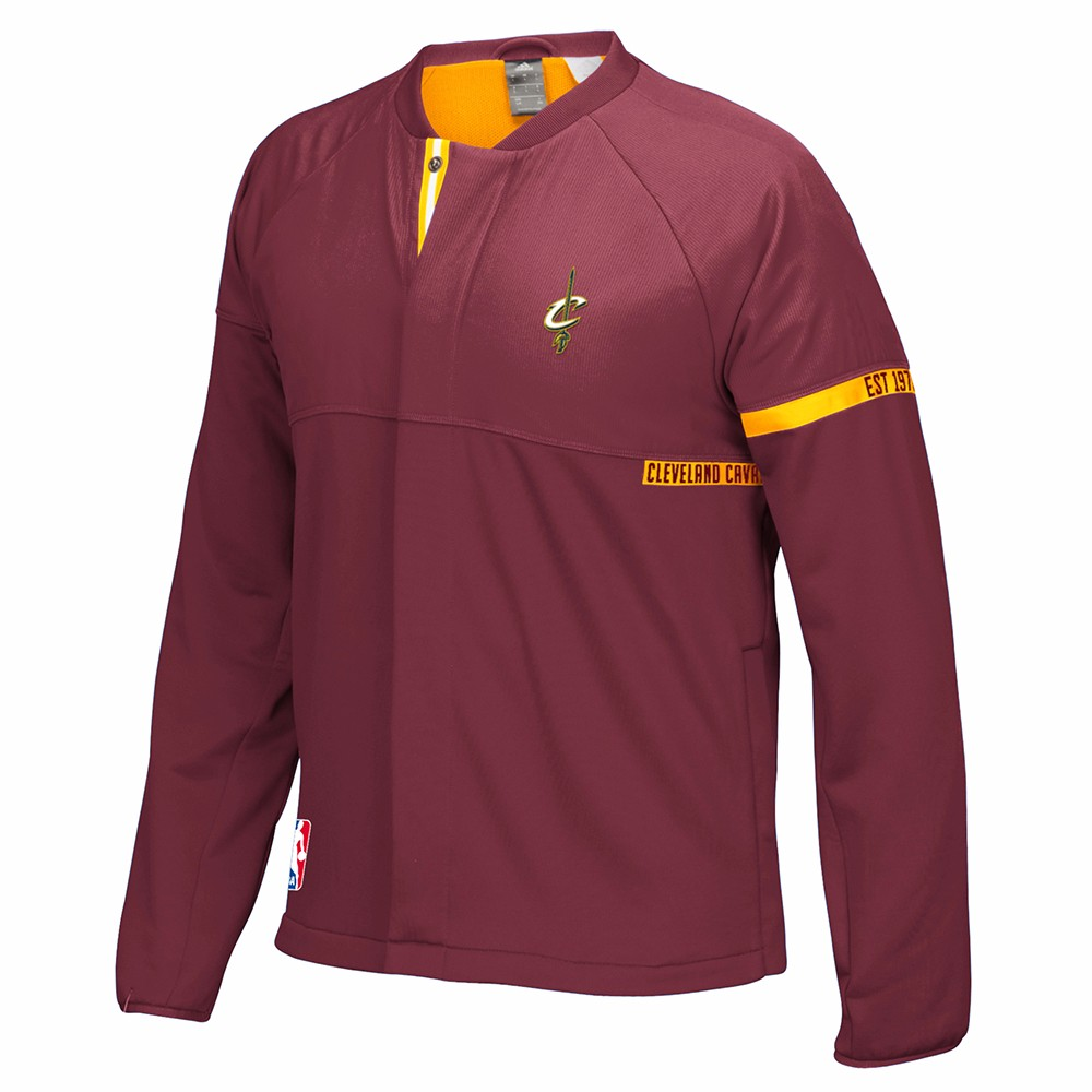 Cleveland Cavaliers NBA Adidas Maroon 2016-17 Authentic On-Court Team Issued Pro Cut Warm Up  Jacket For Men