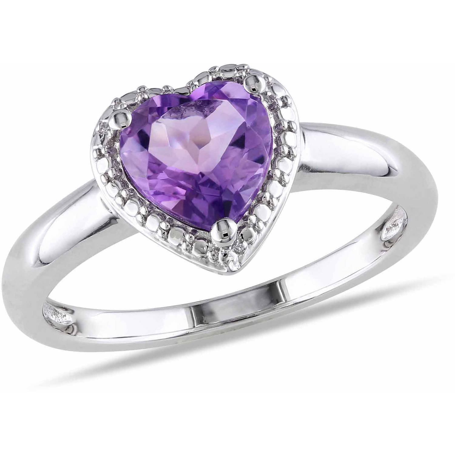 Tangelo 1 Carat T.G.W. Amethyst Sterling Silver Heart Ring by Delmar Manufacturing LLC