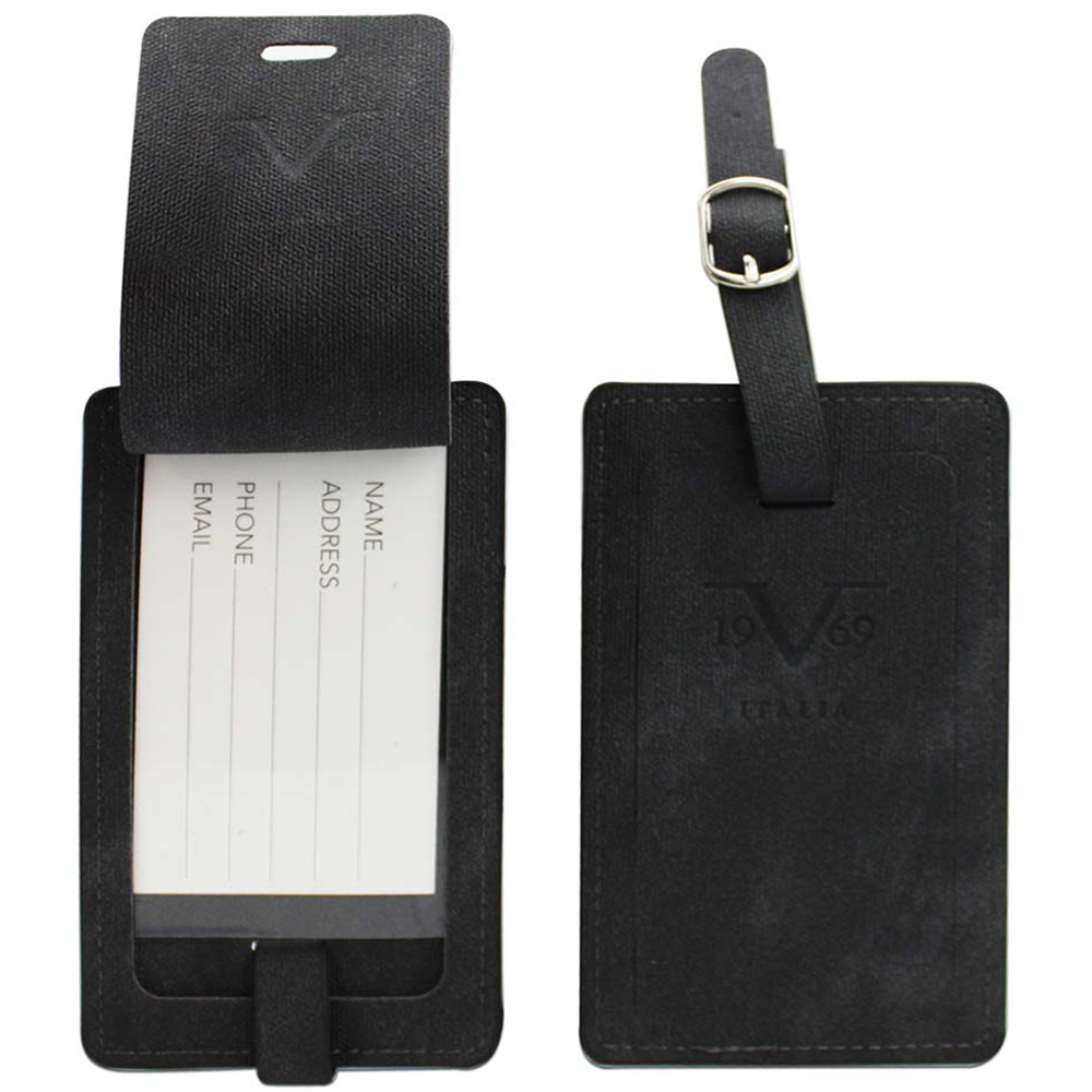 V19.69 Italia by Alessandro Versace Luggage Tags / Card Holder - Set of 2 (Black)