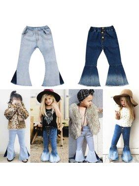 Toddler Kids Baby Girl Bell-Bottoms Pants Denim Wide Leg Jeans Trousers