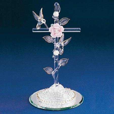 Cross Hummingbird Glass Figurine Religious Baptism/christening/communion