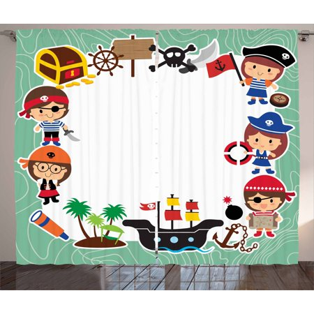 Kids Party Curtains 2 Panels Set, Pirate Explorer Children in Cartoon Style Treasure Chest Ship Tropical Island, Window Drapes for Living Room Bedroom, 108W X 84L Inches, Multicolor, by