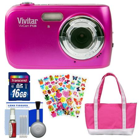 Vivitar ViviCam F126 Digital Camera (Pink) with 16GB Card + Bag + Stickers + Kit