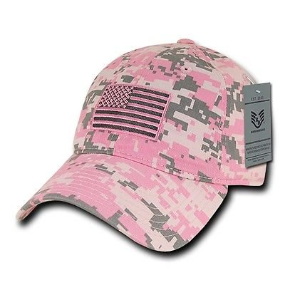 Pink Camo USA US American Flag United States America Polo Baseball Hat Cap