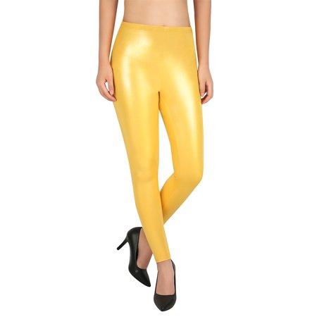 1f8374d9f3 HDE Womens Shiny Glitter Leggings Sparkle Bling Tight Wet Look Metallic  Pants (Silver, Large)
