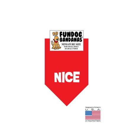 MINI Fun Dog Bandana - Nice (Christmas) - Miniature Size for Small Dogs under 20 lbs, red pet scarf