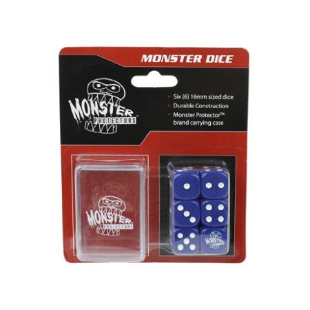 Dice - Monster Protectors Set of 6 D6 Logo Die with Pocket Carrying Case (Blue) - Nerd With Pocket Protector
