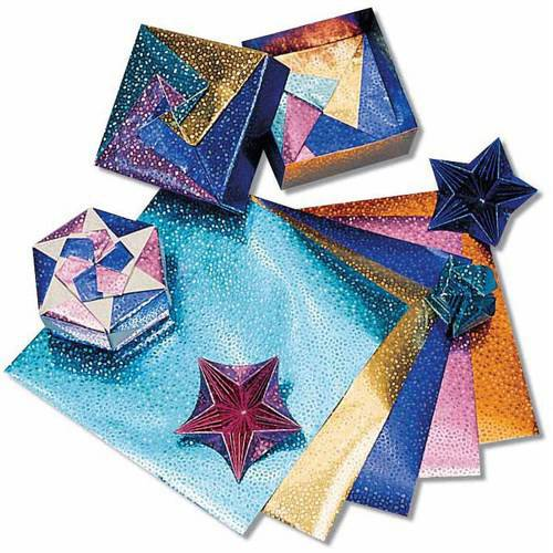 "Hygloss Folders Fantasy Foil Embossed Origami Paper, 6"" x 6"", Assorted Colors, 100pk"