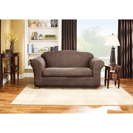 Sure Fit Stretch Leather 2 Piece Sofa Slipcover Brown