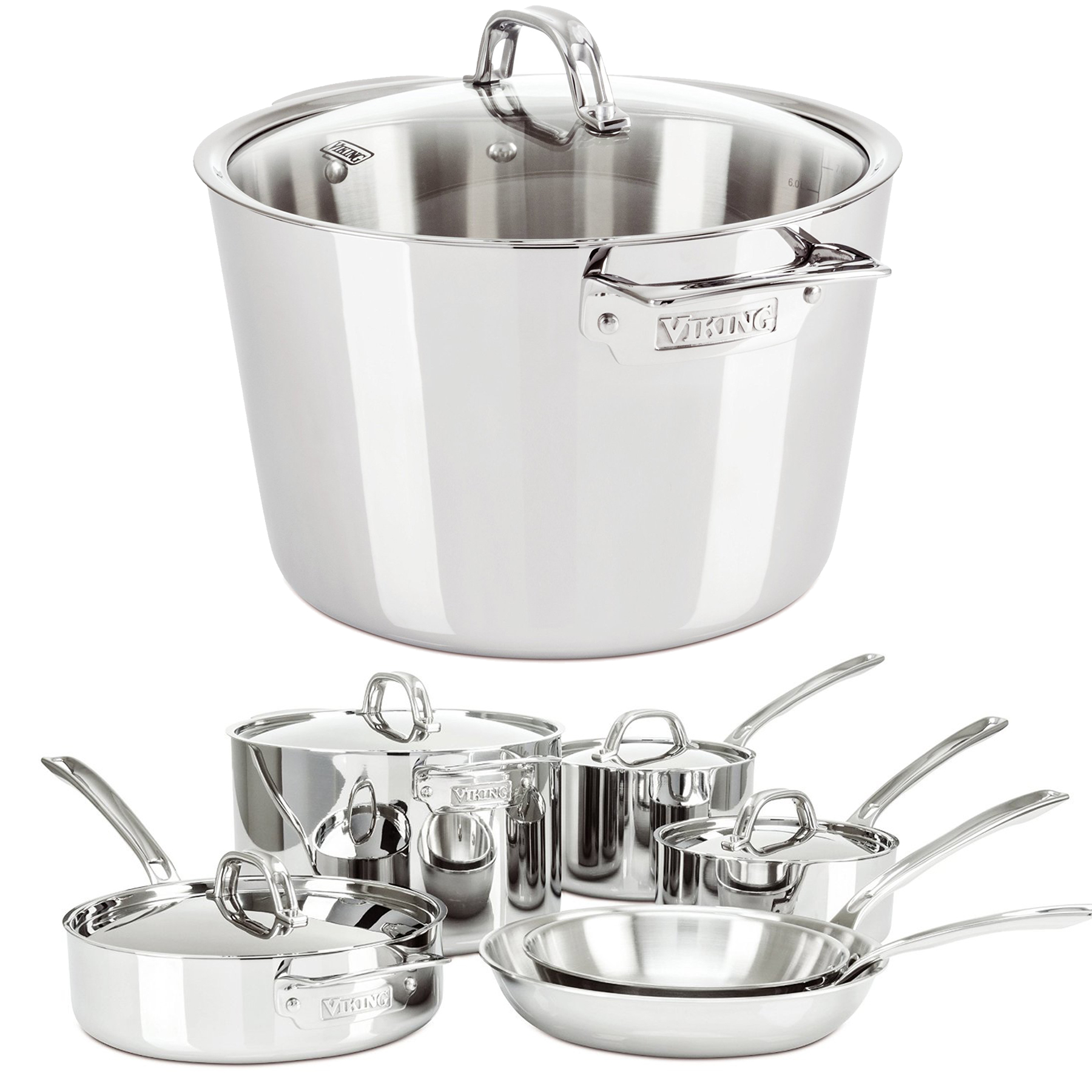 Viking Contemporary Stock Pot w/ 10 Piece Cookware Set (S...