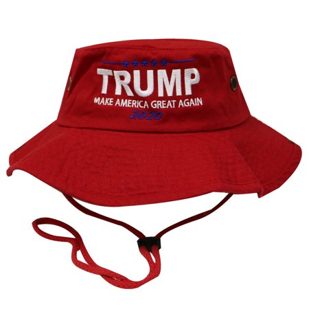 Unisex Bd2020 Bold Trump 2020 Make America Great Again Bucket Hat with String Red - Red Bucket Hats