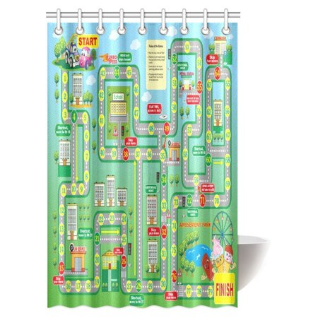 MYPOP City Landscape Map Game Shower Curtain, School Kids Playing in Garden  Educational Games Road Map City Landscape Map Bathroom Shower Curtain, 48