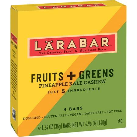 (4 Pack) Larabar Gluten Free Bar Fruits + Greens Pineapple Kale Cashew (Bars Cashew Cookie Larabar)