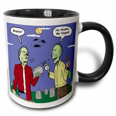 3dRose Halloween - Zombie Vegans - Two Tone Black Mug, 11-ounce - Halloween Rezepte Vegan